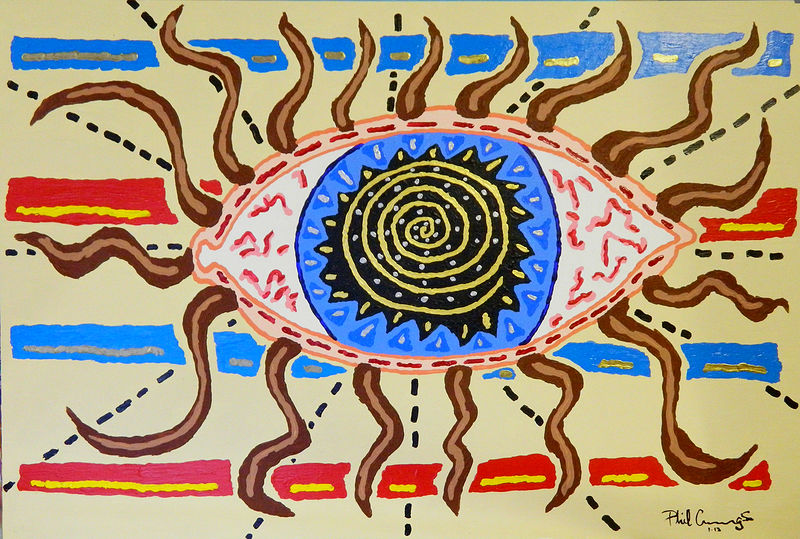 Acrylic painting God's Eye by Phil Cummings