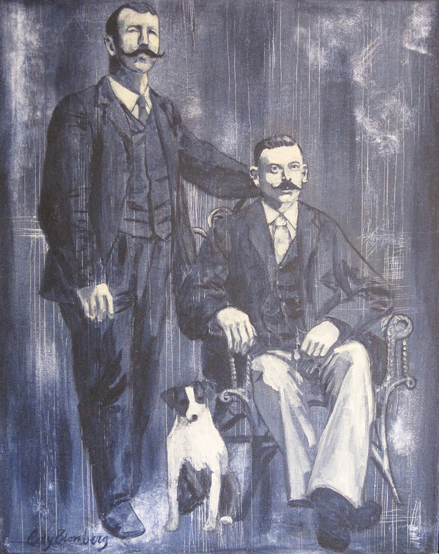 Acrylic painting Vintage Gay Couple with Dog by Cody Blomberg
