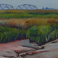 Oil painting The Old Train Bridge by Michael McEwing