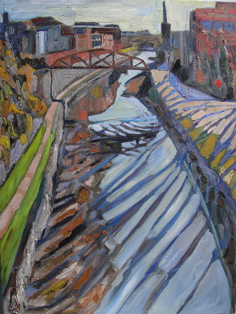 Oil painting Canal View #2 by Edward Miller