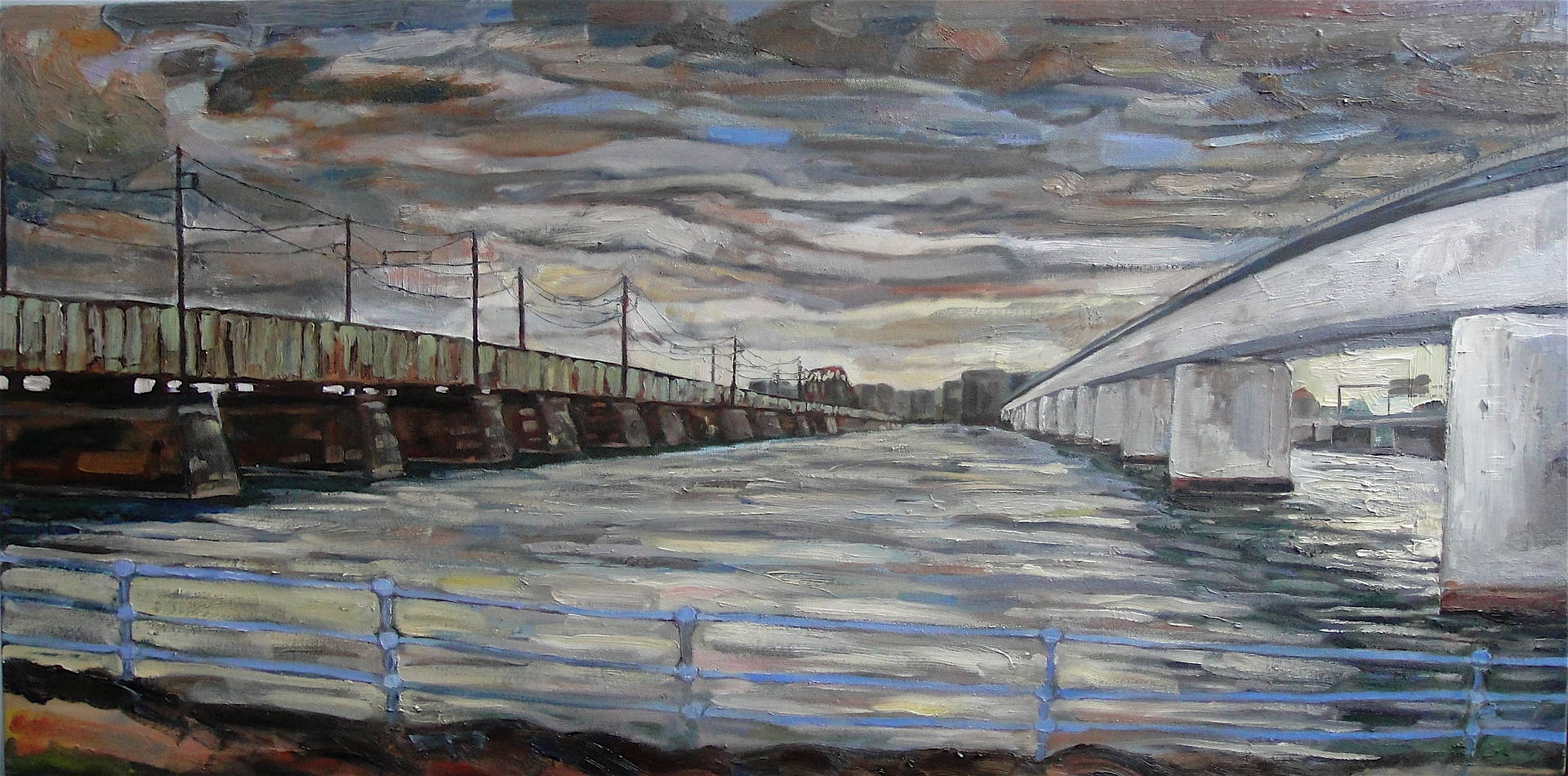 Oil painting Yellow Line South by Edward Miller
