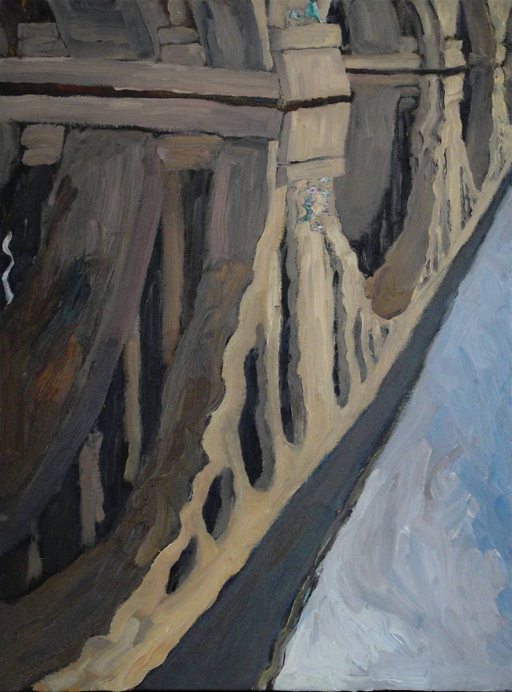 Oil painting Key Bridge Reflected in February by Edward Miller