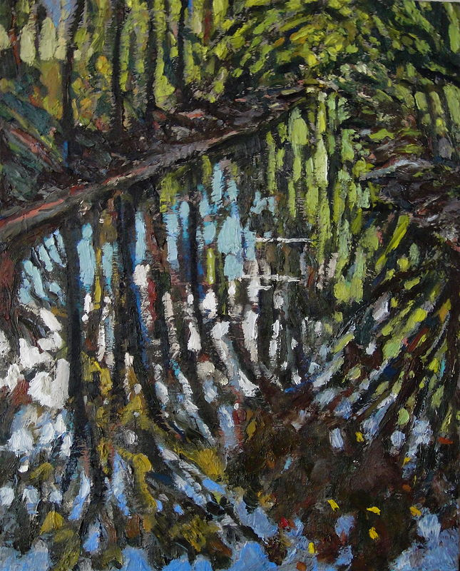 Oil painting Rock Creek Reflections #2 by Edward Miller