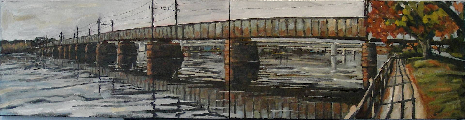 Oil painting West Potomac RR Bridge by Edward Miller