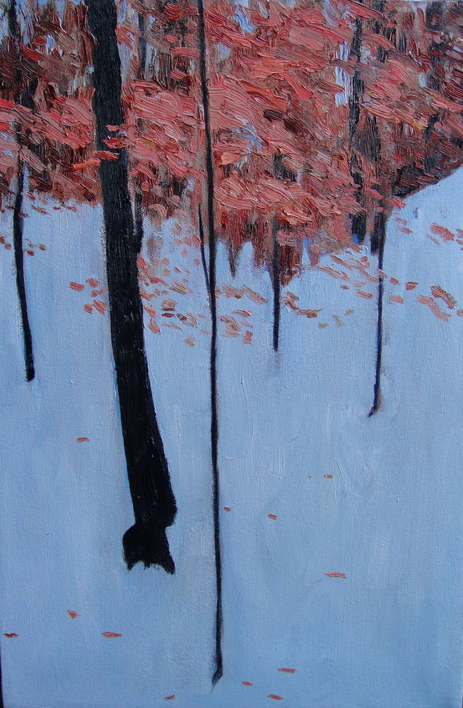Oil painting woods in snow by Edward Miller