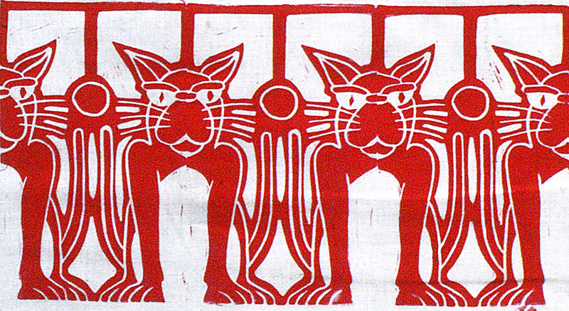 Print Row Of Cats (red) by Phil Cummings