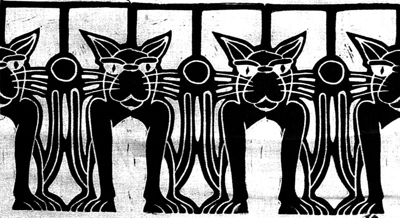 Print Row Of Cats (black) by Phil Cummings