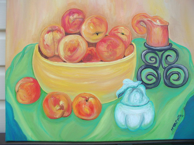 Oil painting Peaches take a magic carpet ride over Niagara by Michelle Marcotte