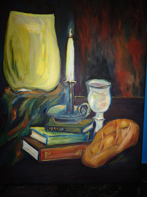 Oil painting Into this dark and confusing world came The Light (in honor of the ordination of Fr. Peter Tremblay) by Michelle Marcotte