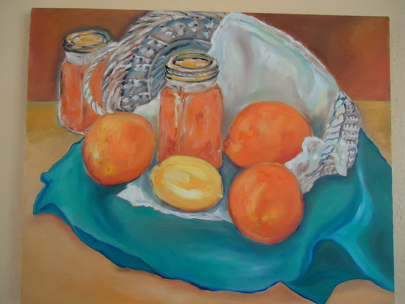 Oil painting I made orange marmelade for my Dad by Michelle Marcotte