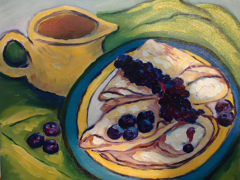 Oil painting Vanilla-cream filled crepes, sauced with wild Quebec blueberries, tossed with highbush blueberries and served with a pitcher of maple syrup, Canada #1 medium by Michelle Marcotte