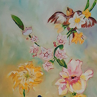 Oil painting Tahleen's and Robert's Garden by Michelle Marcotte