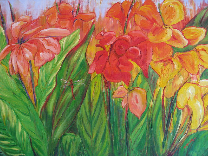 Oil painting Red Dragonfly in Chendu's Canna Lilies  by Michelle Marcotte