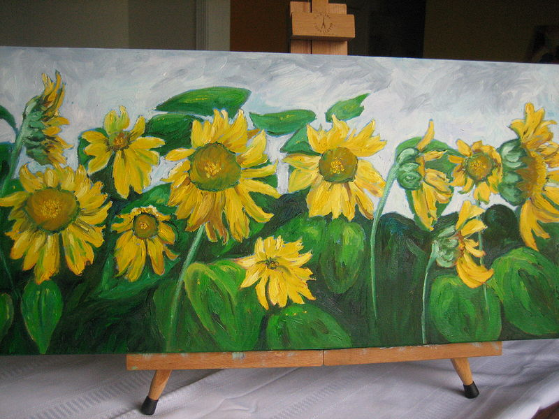 Painting Sunflowers Fading - Giclee Print by Michelle Marcotte
