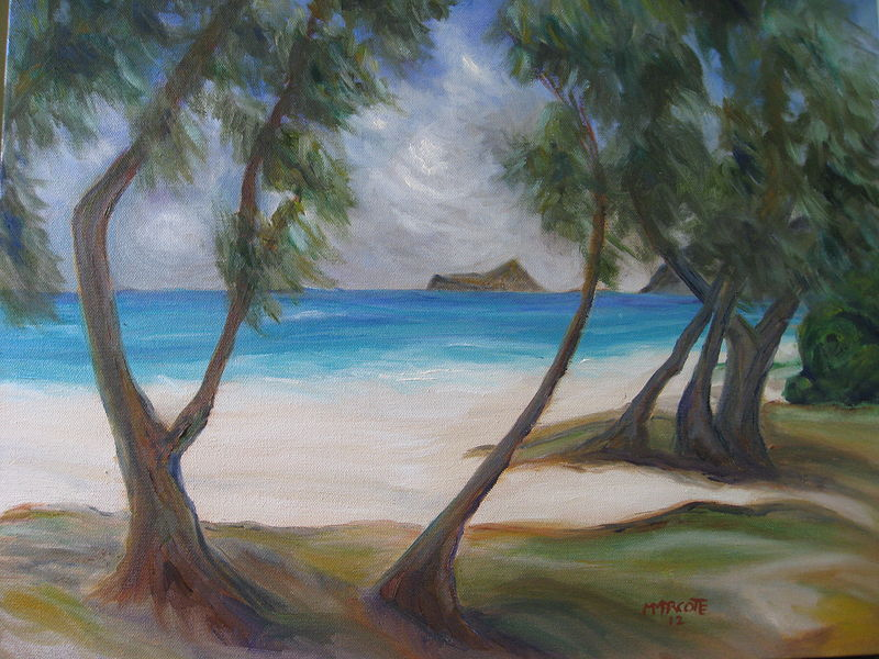 Oil painting Waimanolo State Park in Hawaii by Michelle Marcotte