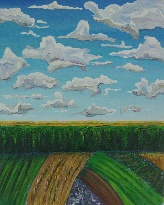 Oil painting Ohio and the wall of corn by Michelle Marcotte