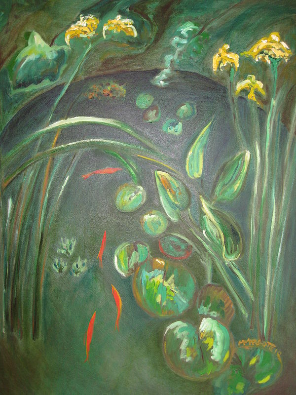 Oil painting Goldfish ponds  by Michelle Marcotte