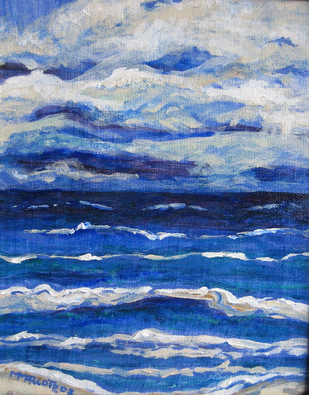 Oil painting Storm on the Ocean by Michelle Marcotte