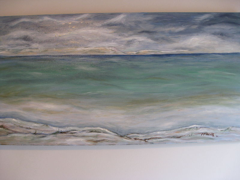 Oil painting It's cold outside - Lake Ontario by Michelle Marcotte