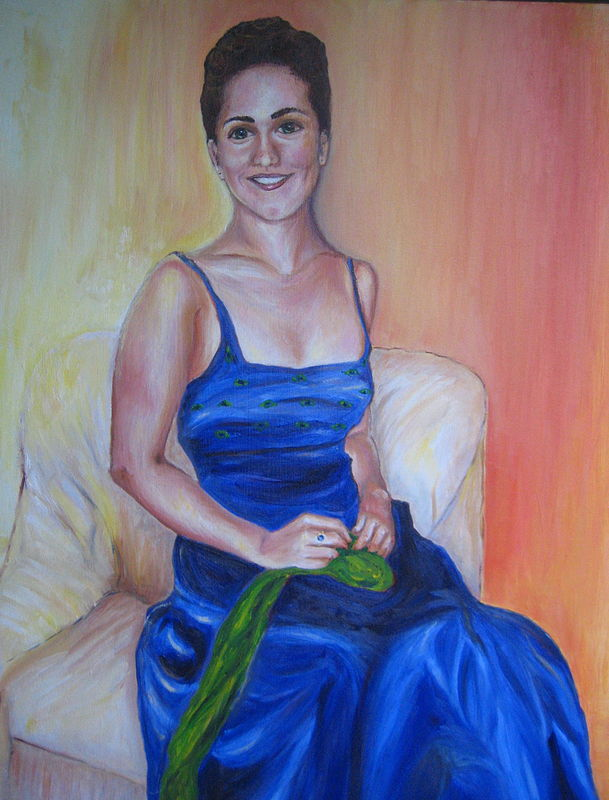 Painting Portrait of Clare in her prom gown by Michelle Marcotte