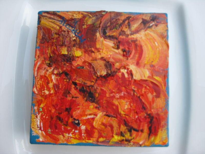 Oil painting Five inch red  by Michelle Marcotte