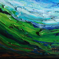 Oil painting March fields by Michelle Marcotte