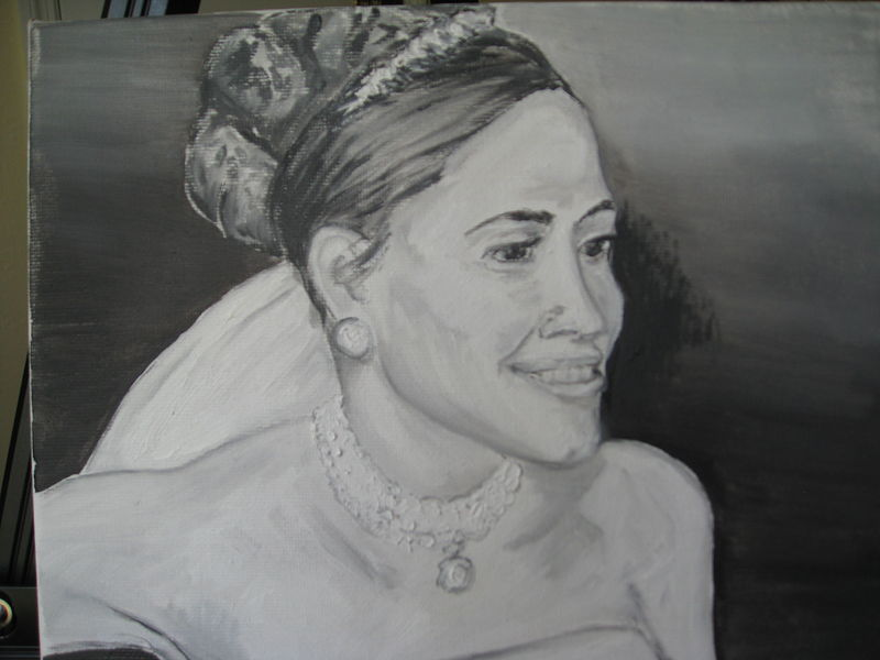 Oil painting Clare in her wedding veil by Michelle Marcotte