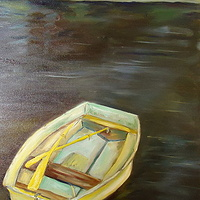 Oil painting Rowboat at Syndney Spit by Michelle Marcotte