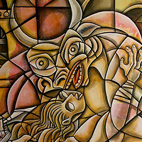 Acrylic painting Theseus and the Minotaur by Kenneth M Ruzic