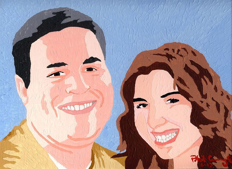 Acrylic painting Anthony and Christina (gift for a bridal shower) by Phil Cummings