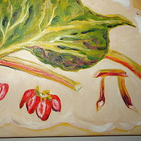 Oil painting Strawberry Rhubarb Pi by Michelle Marcotte