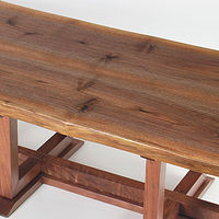 Oil painting live edge black walnut coffee table by enrique morales