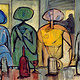 Acrylic painting Four Figures at bar by Allen  Wittert