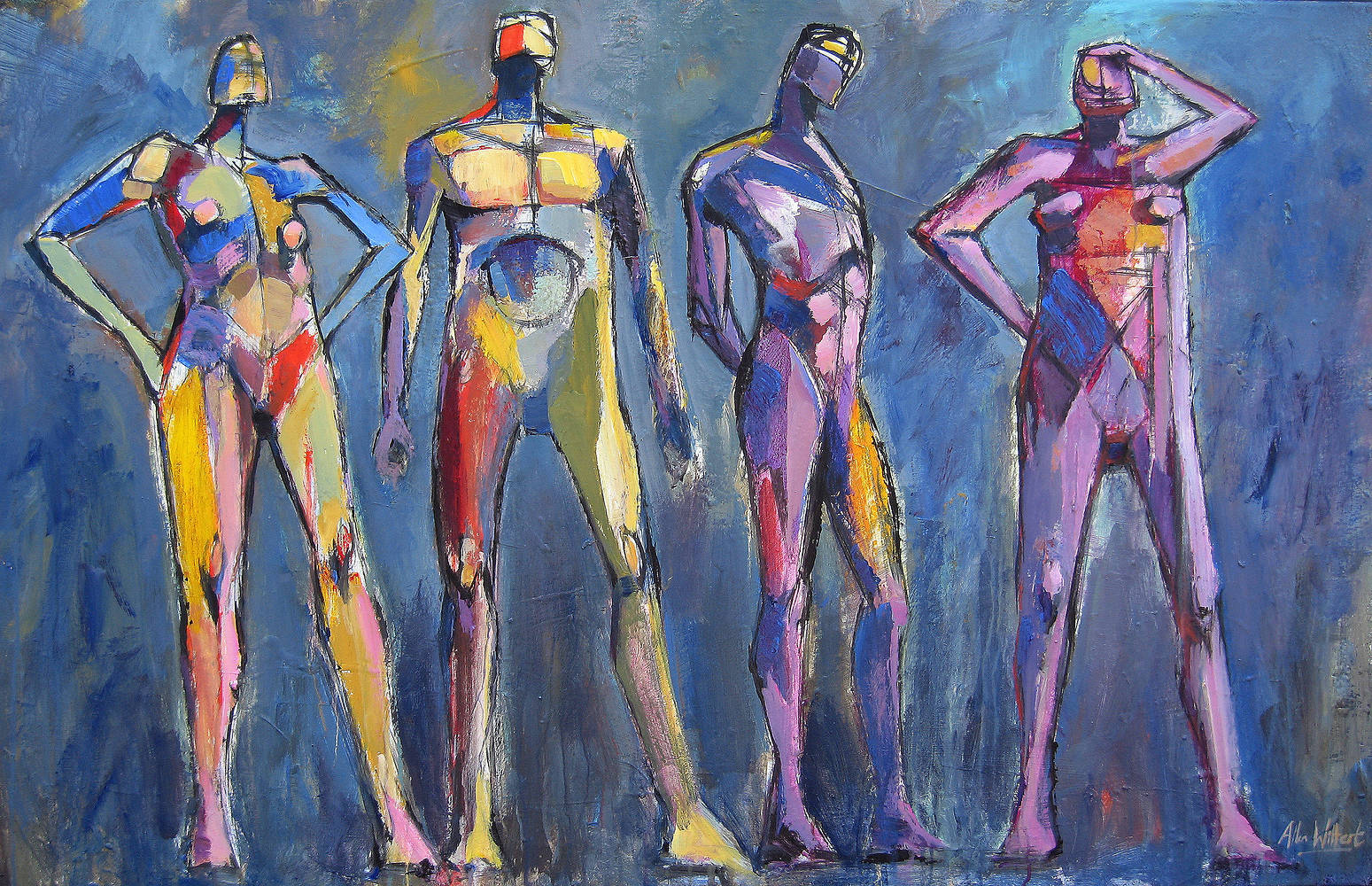 Acrylic painting The Four Standing Figures by Allen  Wittert