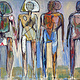 Acrylic painting Four Standing Figures  by Allen  Wittert