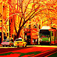 Oil painting Collins Street Tram Stop copy by Guntis Jansons