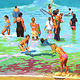 Oil painting Beach bathers by Guntis Jansons