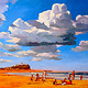Oil painting Nobby's Beach  by Guntis Jansons