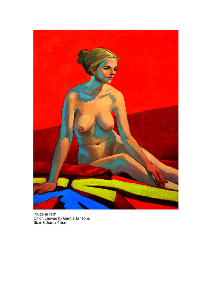 Oil painting Nude in red  by Guntis Jansons