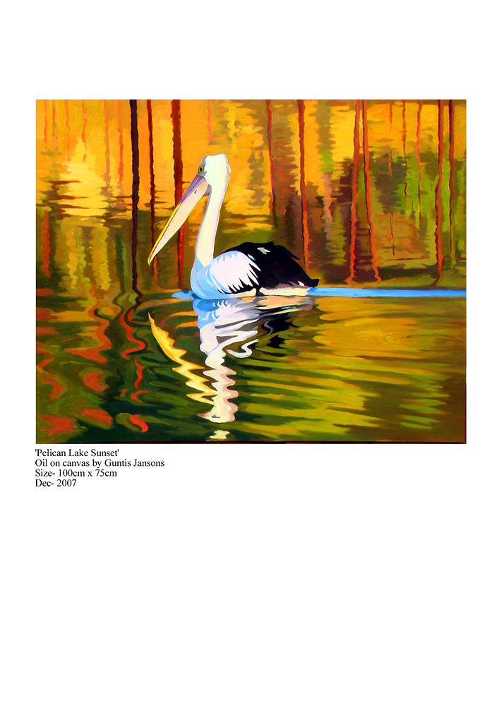 Oil painting Pelican Lake Sunset  by Guntis Jansons