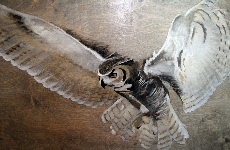 Acrylic painting Great Horned Owl by Belinda Harrow