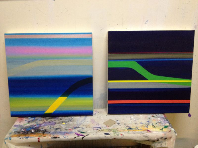 Acrylic painting Miami Day / Miami Night (studio shot) by Erin  Mackeen