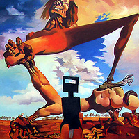 Oil painting Ned Kelly discovers Salvadore Dali  by Guntis Jansons