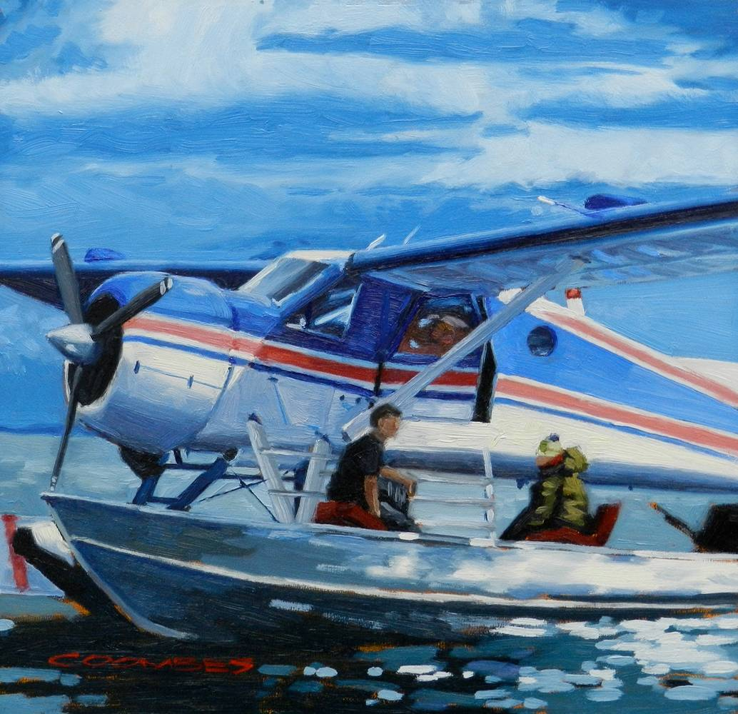 Oil painting Going Fishing (sold) by Bryan  Coombes