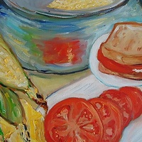 Oil painting Corn on the Cob and Toasted Tomato Sandwiches for Dinner by Michelle Marcotte
