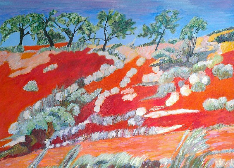 Oil painting Red Center Glory, 2013 by Gwenda Branjerdporn