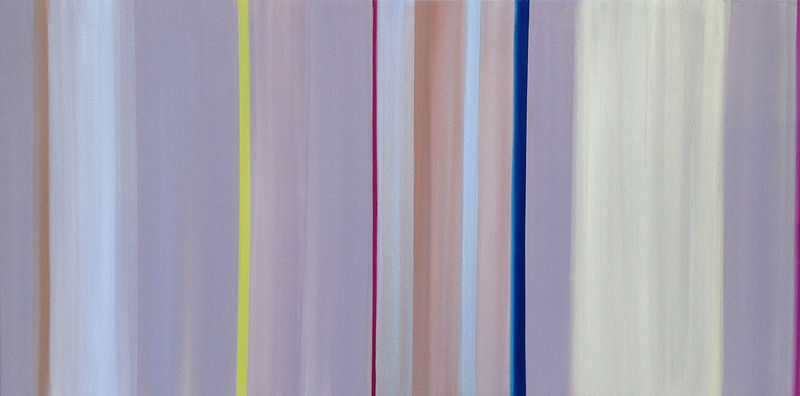 Acrylic painting Blue Line with Veils by Erin  Mackeen