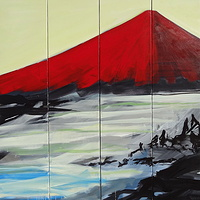Acrylic painting Red Fuji #1 by David Tycho