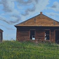 Oil painting Three Buildings by David B. Scott