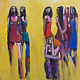 Oil painting Seven nightclubbers  by Allen  Wittert